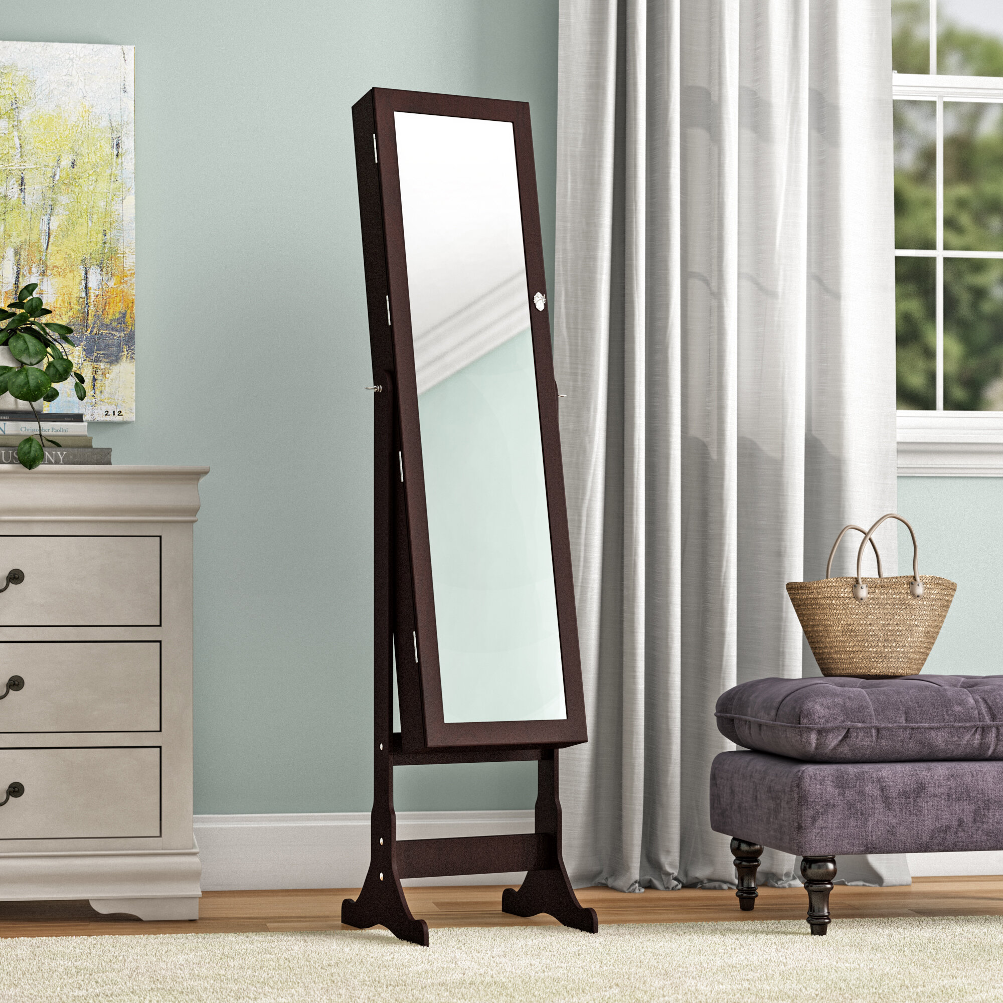 Image of: Alcott Hill Pringle Free Standing Jewelry Armoire With Mirror Reviews Wayfair