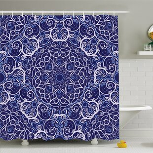 Find the perfect Kaleidoscope Circular Floral Modern Bohemian Shower Curtain Set By Ambesonne