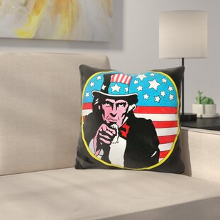Uncle Sam Circle Throw Pillow By East Urban Home