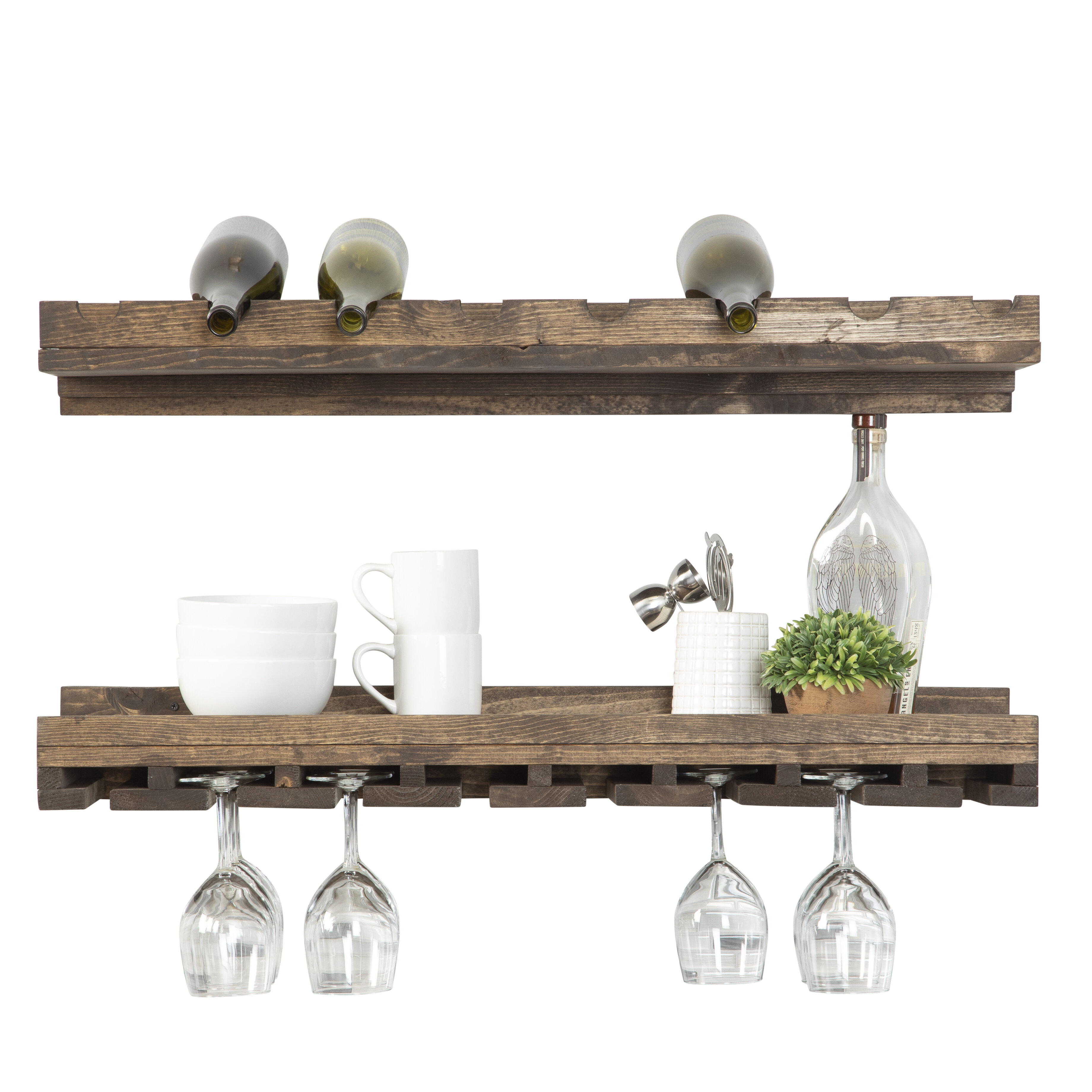 Berlyn Solid Wood Wall Mounted Wine Bottle Glass Rack Reviews