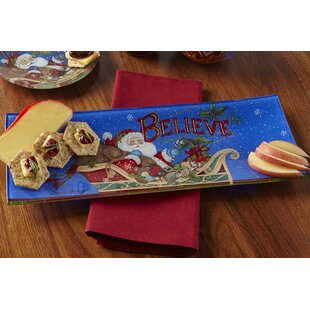 Believe Santa Hand Painted Glass Serving Tray by Precious Moments