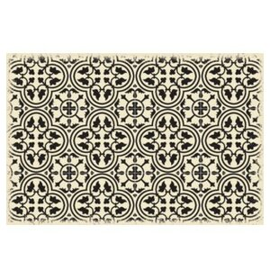 Colten Ring of European Design Black/White Indoor/Outdoor Area Rug