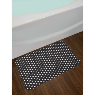 8ce29e7ac09d Classical Pattern of White Polka Dots on Black Traditional Vintage Design  Bath Rug