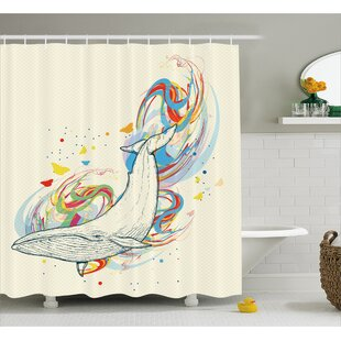 Cendrillon Whale in Ocean Dive Single Shower Curtain
