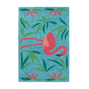 Fancy Flamingo Aqua/Pink Indoor/Outdoor Area Rug