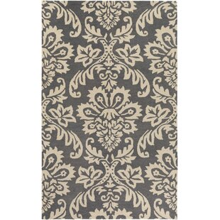 Best Kimberlin Hand-Tufted Dark Gray/Off-White Area Rug By Ophelia & Co.