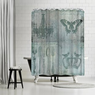 Lebens Art Teal Baroque Single Shower Curtain