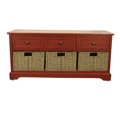 Ardina Wood Storage Bench Color: Antique Red by Beachcrest Home