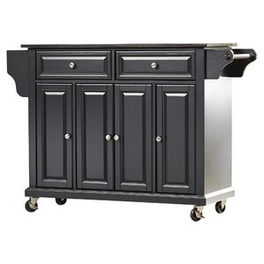 Abbate Kitchen Island with Solid Black Granite Top by Darby Home Co