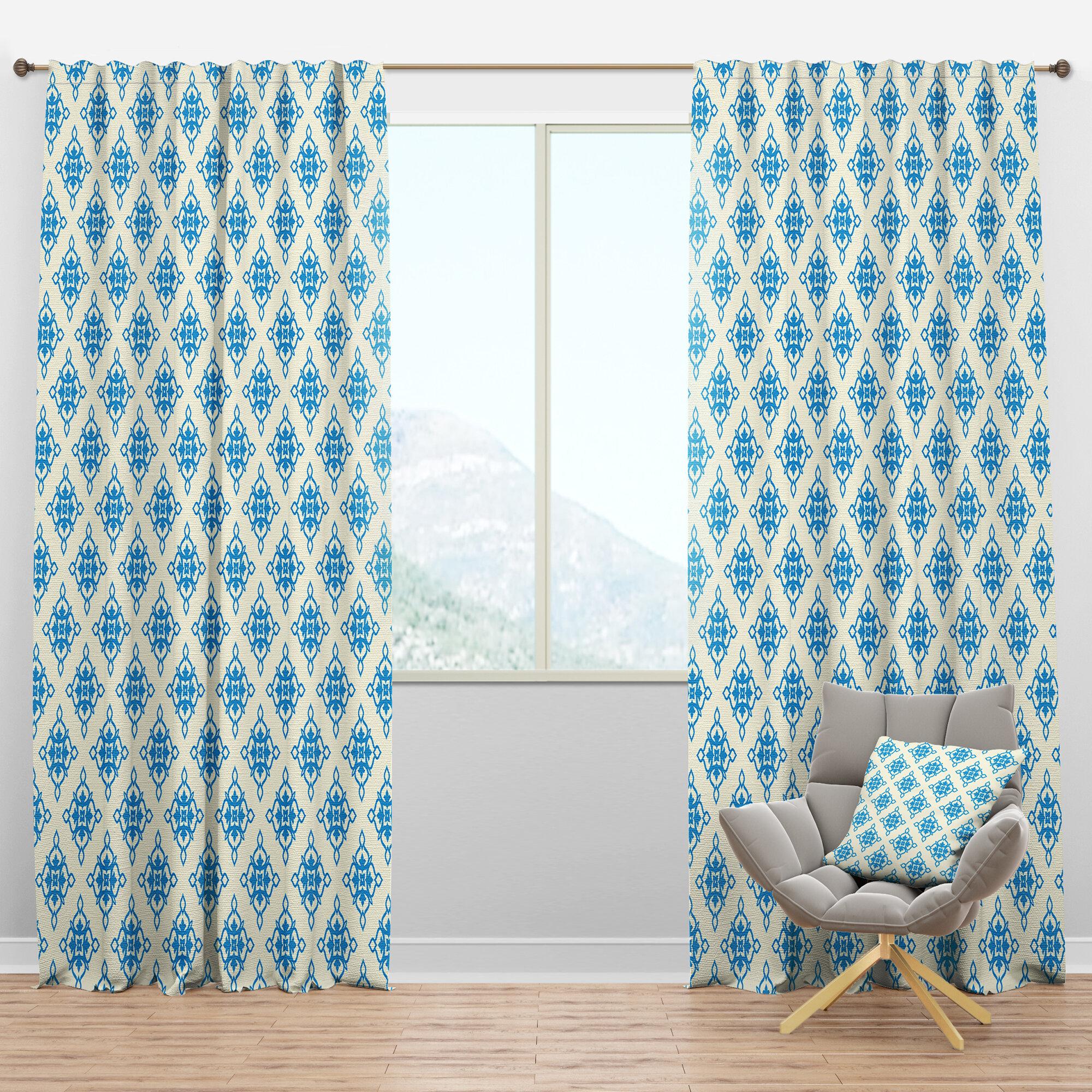 Designart Mid Century Ornamental I Floral Semi Sheer Thermal Rod Pocket Curtain Panels Wayfair