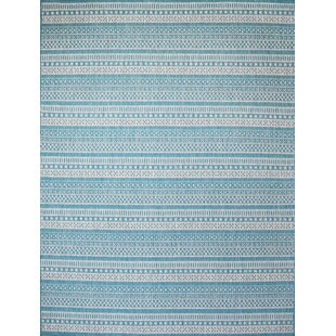 Starks Stripe Turquoise Indoor/Outdoor Area Rug
