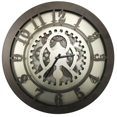 17 Stories 20 inch Handcrafted Round Gears Wall Clock