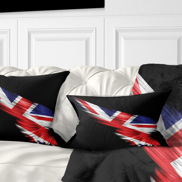 East Urban Home Abstract Wing With United Kingdom Flag Lumbar Pillow Wayfair