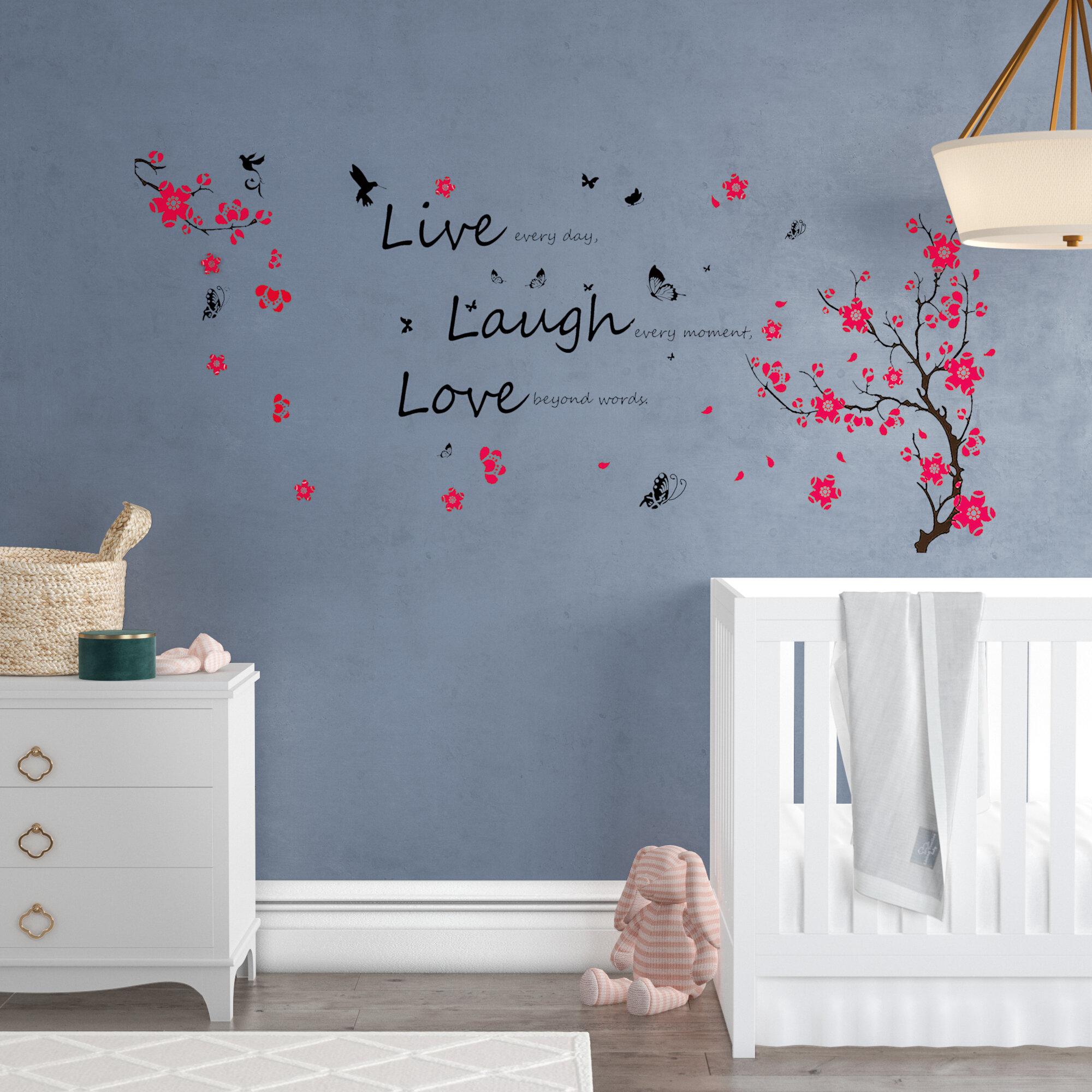 Ebern Designs Maceus Blossom Vivid Live Laugh Wall Decal Reviews Wayfair