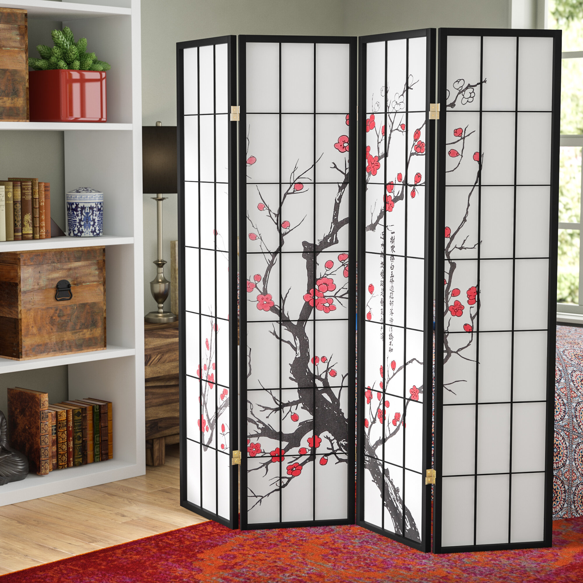 World Menagerie Neagle Japanese Plum Blossom 4 Panel Room Divider Reviews
