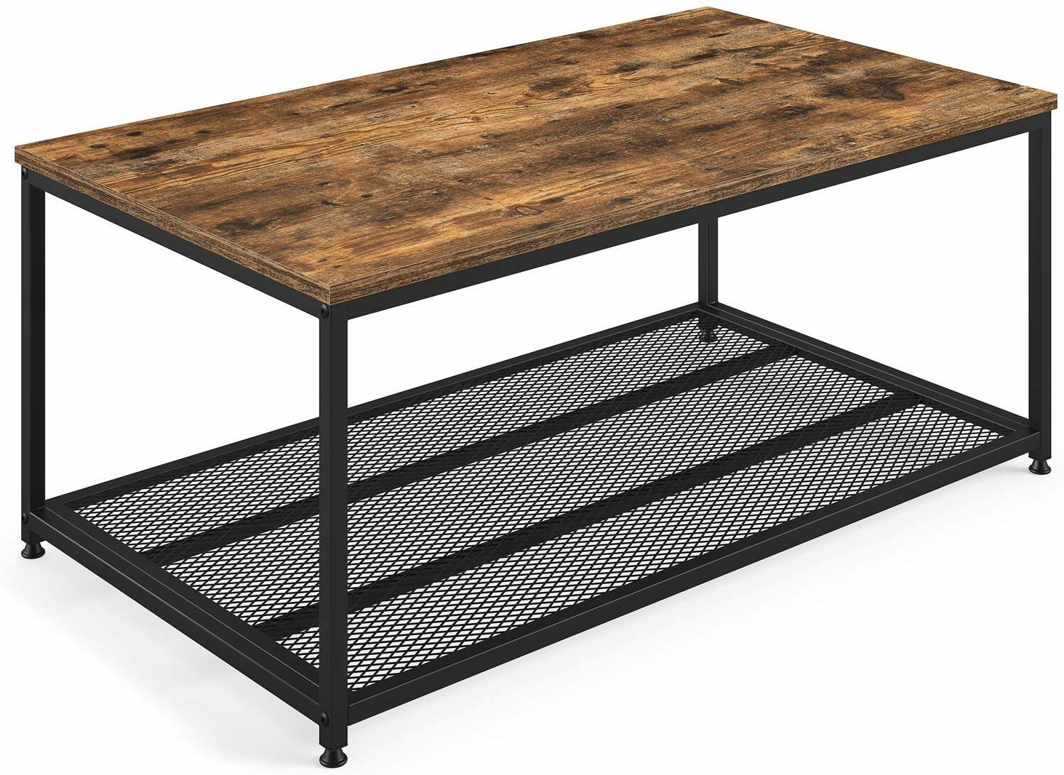 - Ballucci Industrial Coffee Table With Storage Shelf, Rustic Brown