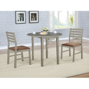 Broughton 3 Piece Drop Leaf Solid Wood Dining Set Winston Porter