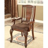 Dominey Upholstered Slat Back Arm Dining Chair (Set of 2) by Astoria Grand