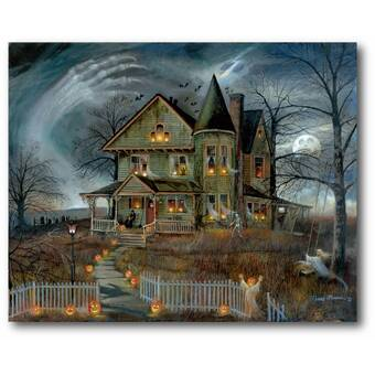 'Creepy Haunted House Halloween' LED Lighted Graphic Art