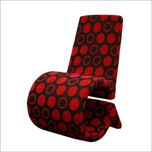 Baxton Studio Forte Red and Black Patterned Slipper Chair by Wholesale Interiors