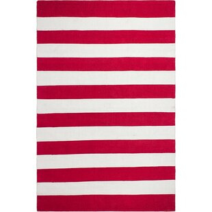Best Choices Nantucket Striped Hand-Woven Red/White Indoor/Outdoor Area Rug By Fab Habitat