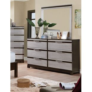Latitude Run Fritch 6 Drawers Double Dresser with Mirror