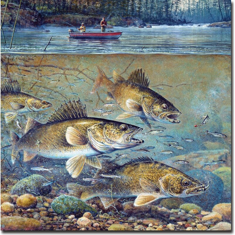 'Fisherman's Walleye' on Wood - Distressed Fish Wall decor