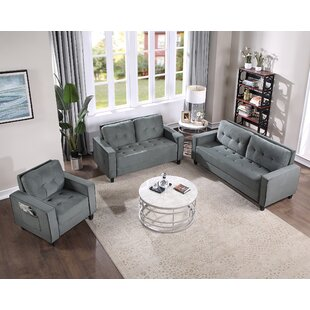 Sofa Set Morden Style Couch Furniture Upholstered Armchair, Loveseat And Three Seat For Home Or Office (1+2+3-Seat) by Ebern Designs