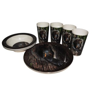 Cubby Bear Melamine 12 Piece Dinnerware Set, Service For 4 by MotorHead Products Modern