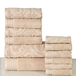 Harley 12 Piece 100% Cotton Bath Towel Set (Set of 12)
