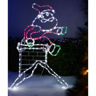 Large Animated Chimney Santa Lighted Display Image