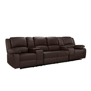 4 Seat Home Theater Sofa with Cup Holder Red Barrel Studio