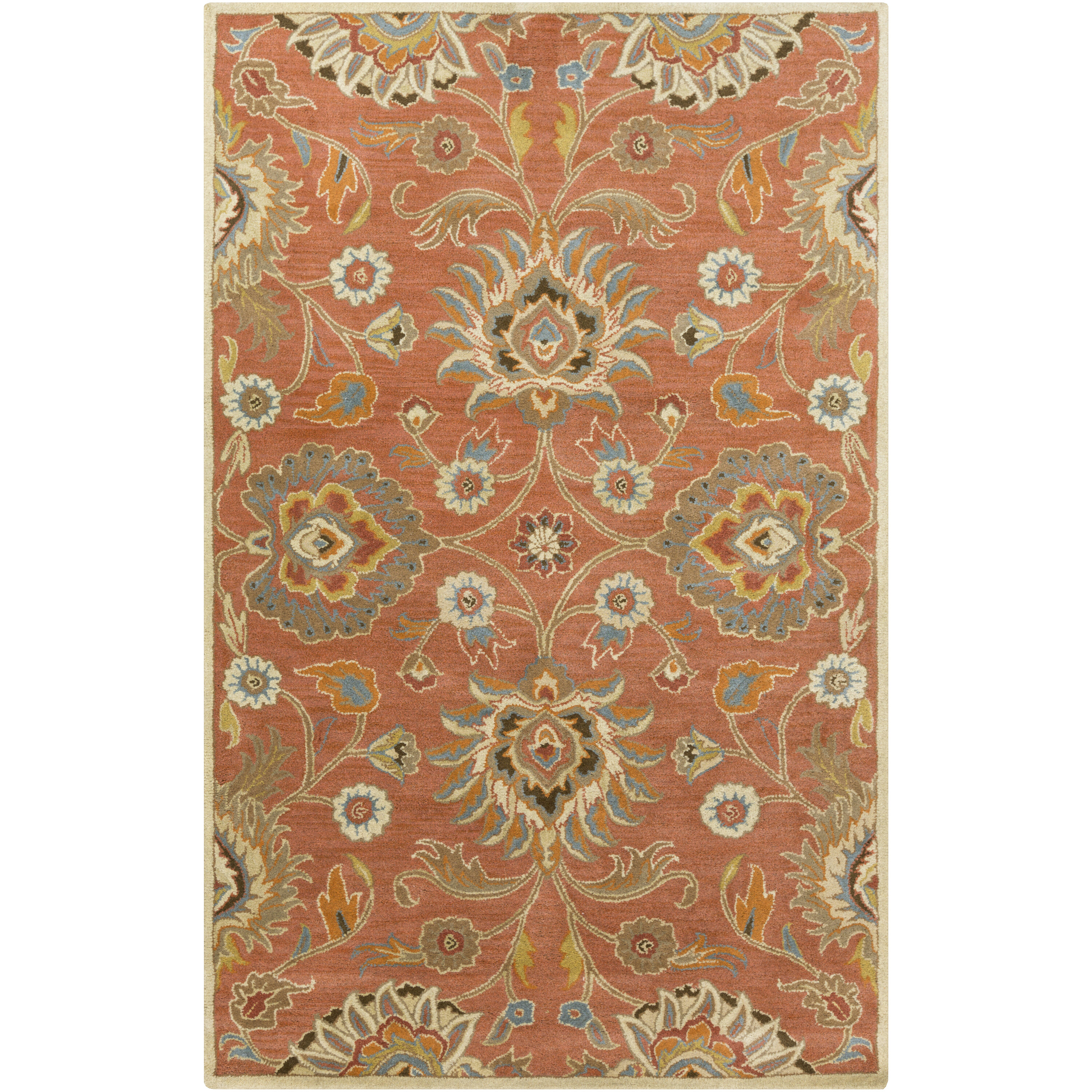 Picture of: Ayan Floral Handmade Tufted Wool Burnt Orange Area Rug Reviews