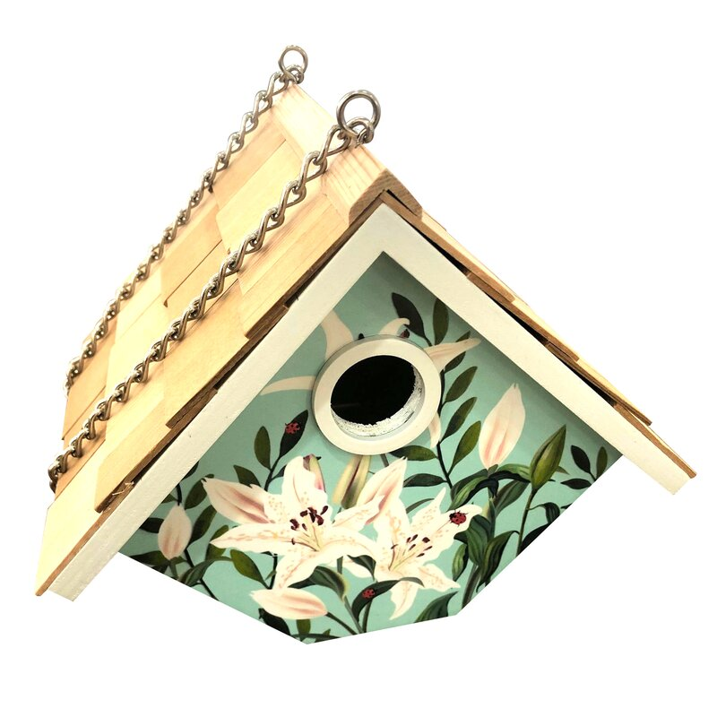 Home Bazaar Printed Hanging Wren House Lilies 6 5 In X 8 In X 6 5 Inbirdhouse Wayfair
