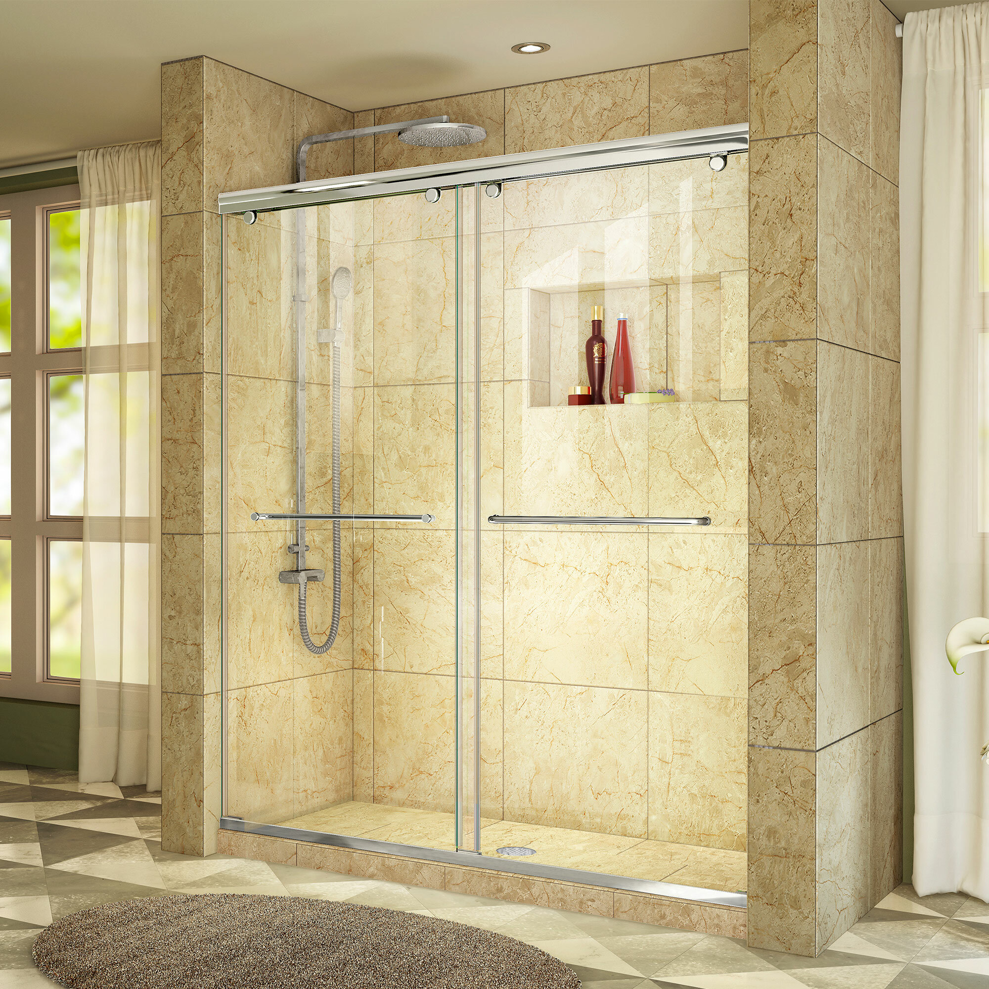 Charisma 60 X 76 Bypass Semi Frameless Shower Door With Clearmax Technology