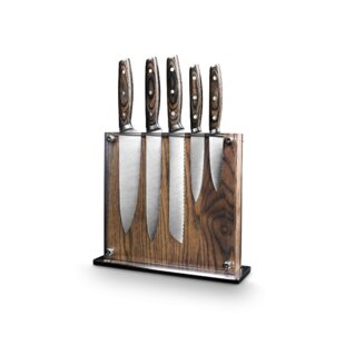 Ash Wood Magnetic 6 Piece Knife Block Set