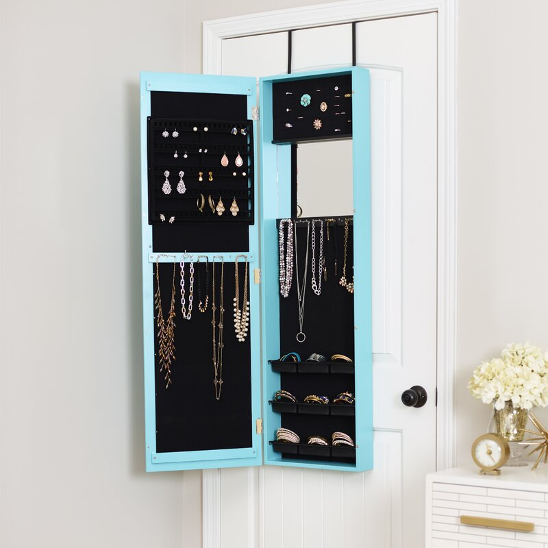 Modern Over The Door Jewelry Armoire with Mirror & Mercury Row Modern Over The Door Jewelry Armoire with Mirror ...