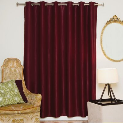 "Solid Blackout Thermal Grommet Single Curtain Panel Blackout Curtain Size per Panel: 100"" W x 108"" L, Color: Burgundy"