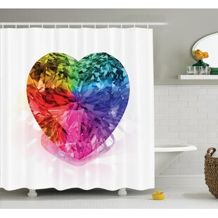 Love Heart Colorful Shower Curtain Set