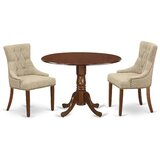 Mckey 3 Piece Drop Leaf Solid Wood Dining Set by Canora Grey