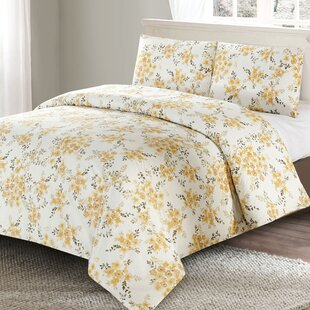 McCombs Floral 100% Cotton 3 Piece Duvet Cover Set