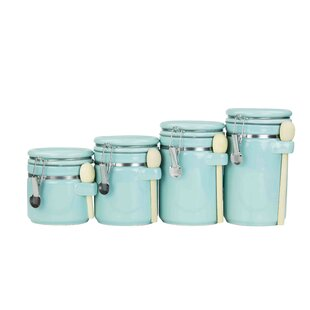 Ceramic with Spoon 4 Piece 1 qt. Kitchen Canister Set