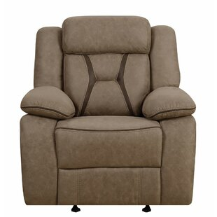 Eisenman Pillow-Padded Glider with Contrast Stitching Recliner Darby Home Co Today Only Sale