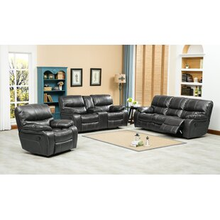 Ewa Reclining 3 Piece Leather Living Room Set By Roundhill Furniture