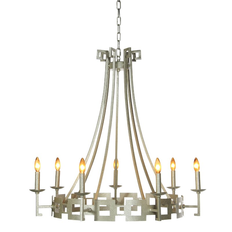 Ellahome Palm Beach 7 Light Candle Style Wagon Wheel Chandelier Perigold