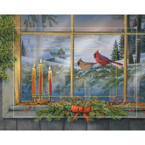 Holiday Friends - Cardinals by Sam Timm Painting Print on Wrapped Canvas