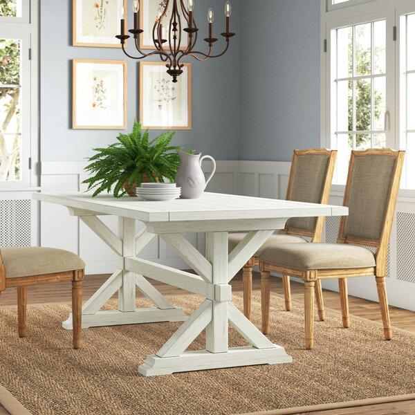 Gracie Oaks Eldert 38 Solid Oak Trestle Dining Table Reviews Wayfair