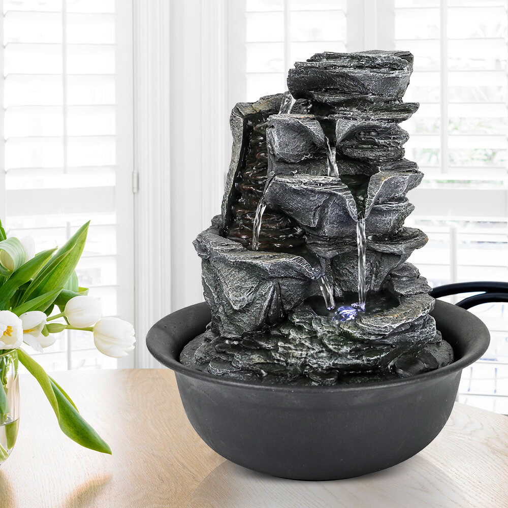 Loon Peak Chillscreamni Resin Crafted Stacked Rock Water Fountain 11 4 5 Rockery Indoor Water Feature W Led Light For Home Office Decor 5 Tier Led Lit Cascade Fountain W Soothing Sound For Stress Relief Wayfair