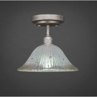 Williston Forge Kash 1-Light Bell Shade Semi-Flush Mount