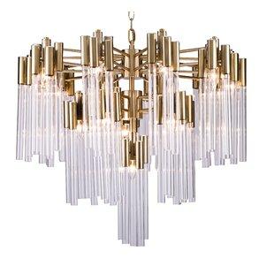 Everly Quinn Kelsch Glass Tube 16-Light Chandelier